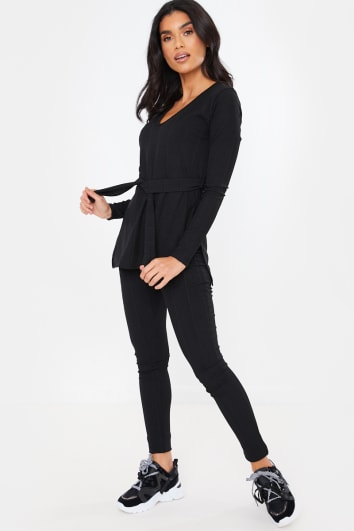 BLACK RIBBED V NECK TIE FRONT DETAIL TOP AND BOTTOMS LOUNGEWEAR SET