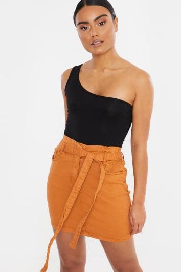 rust paperbag waist tie denim mini skirt