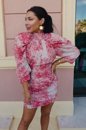 LORNA LUXE 'MADAME DE POMPADOUR IMPOSSIBLY PERFECT' PINK BALLOON SLEEVE MINI DRESS