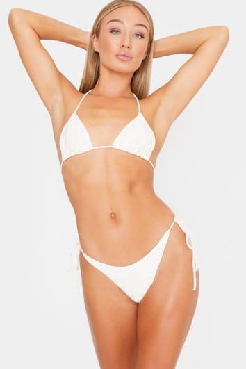 cream ribbed triangle bikini top