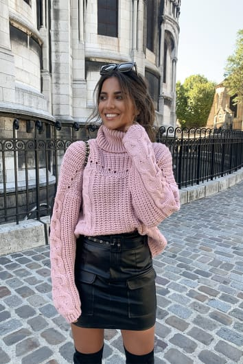 STEPHSA BLUSH CHUNKY CONTRAST KNIT JUMPER