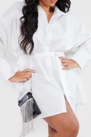 CURVE STEPHSA WHITE BOX FIT SHIRT DRESS