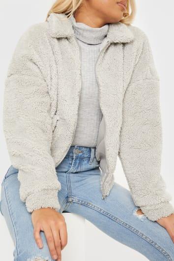 grey teddy fur bomber jacket