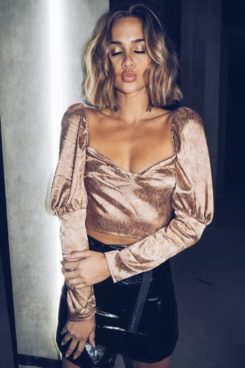 gold satin puff sleeve crop top