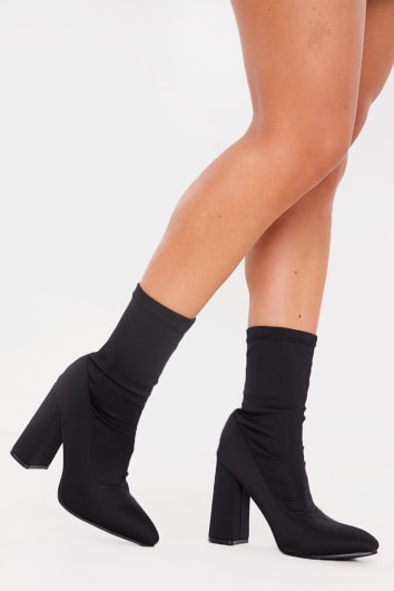 BLACK STRETCH POINTED SOCK BOOTS