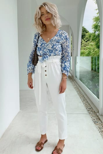 LAURA JADE WHITE HIGH WAISTED TIE WAIST TROUSERS