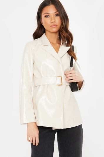 BLUSH VINYL BELTED JACKET