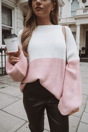 DANI DYER PINK AND WHITE COLOUR BLOCK JUMPER