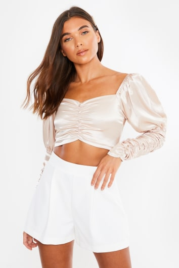 light gold satin ruched sleeve button detail crop top