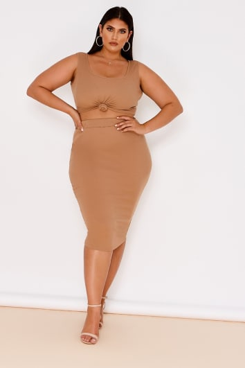 curve camel ribbed high waisted co-ord skirt