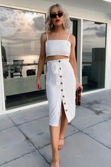 LAURA JADE WHITE BRODERIE ANGLAISE BUTTON THROUGH CO-ORD MIDI SKIRT