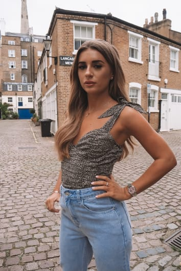 DANI DYER STONE LEOPARD PRINT RUCHED CUPPED BODYSUIT