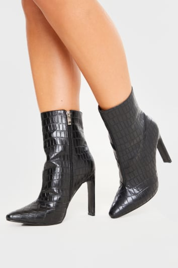 BLACK CROC POINTED HEELED ANKLE BOOTS