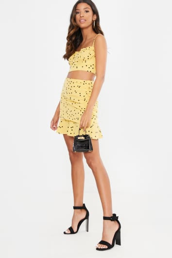 YELLOW POLKA DOT RUFFLE CROP TOP AND MINI SKIRT CO ORD