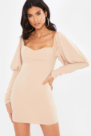 CAMEL PUFF LONG SLEEVE CUT OUT BACK MINI DRESS