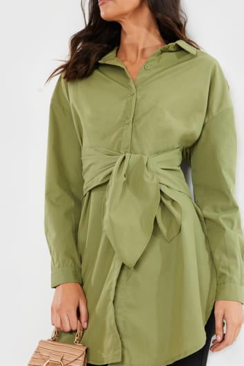 KHAKI OVERSIZED TIE FRONT SHIRT MINI DRESS