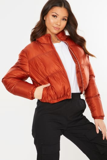 RUST CROPPED PUFFER JACKET