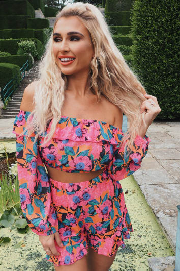BILLIE FAIERS PINK FLORAL PRINT FRILL CO-ORD SHORTS