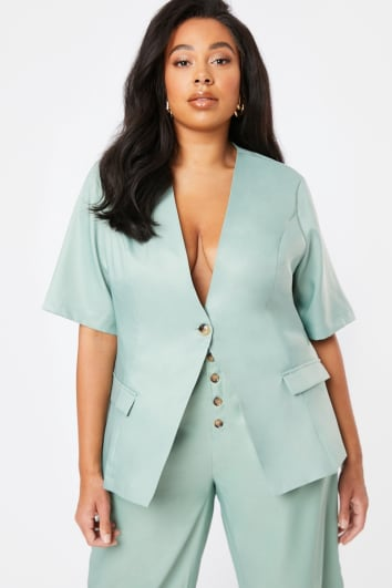 CURVE LAURA JADE GREEN SHORT SLEEVED SINGLE BREASTED CO-ORD BLAZER