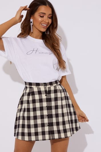 navy checked button co ord skirt