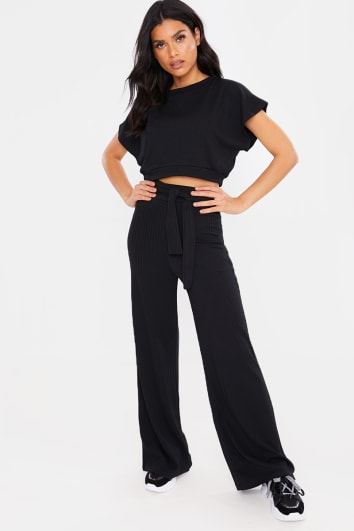 BLACK TEXTURED CROP TOP AND TIE WAIST TROUSER LOUNGEWEAR SET