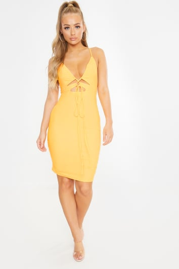 yellow slinky cut out ruched mini dress