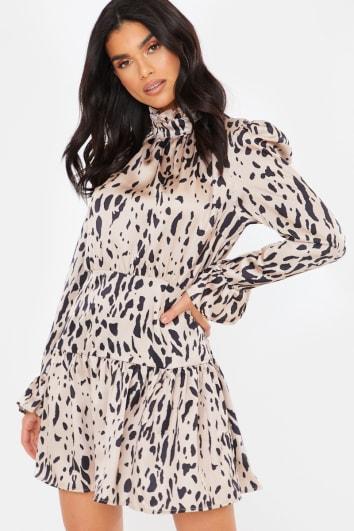 NUDE SATIN LEOPARD PRINT HIGH NECK SMOCK MINI DRESS
