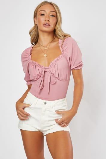 blush puff sleeve bodysuit