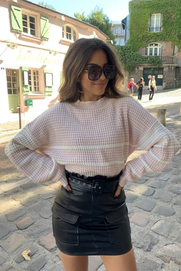 STEPHSA BLUSH STRIPE KNITTED JUMPER