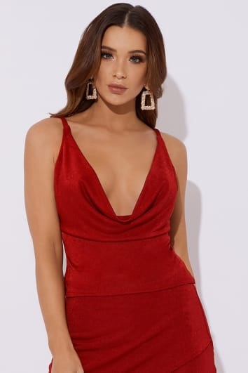 red slinky cowl neck co-ord top