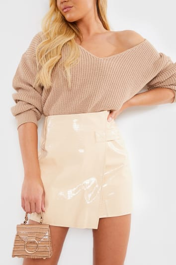 NUDE FAUX CROC ASYMMETRIC WRAP MINI SKIRT