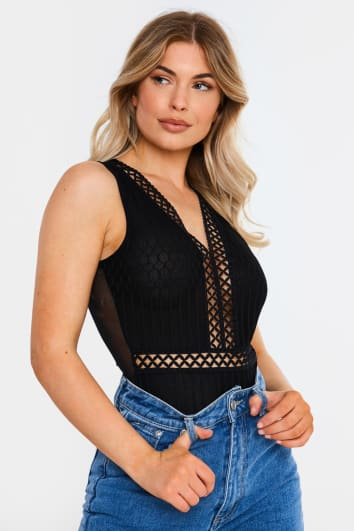 black crochet trim mesh sleeveless bodysuit