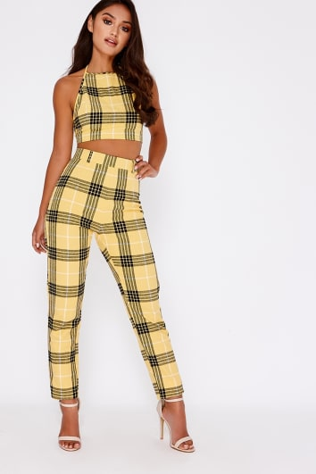 yellow checked cigarette co-ord trousers