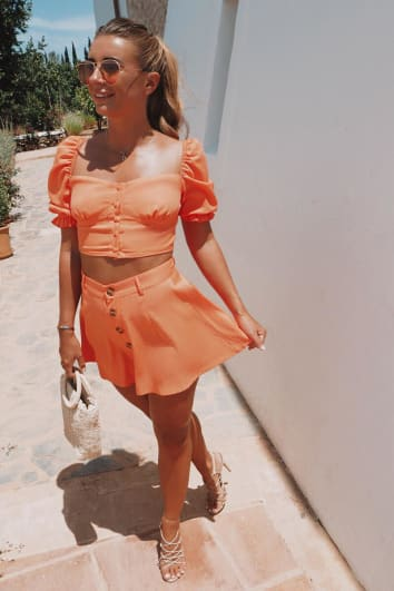 DANI DYER ORANGE SWING SHORTS