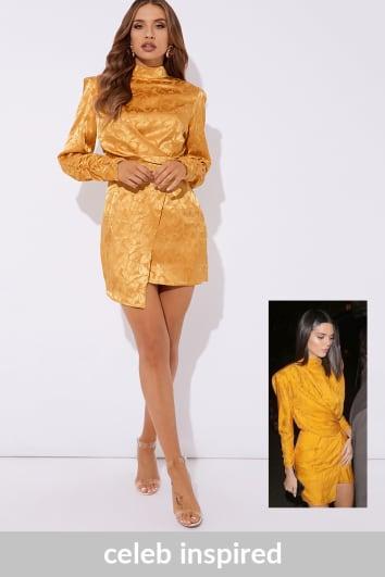 mustard jacquard high neck mini dress
