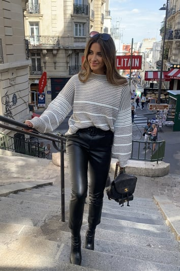STEPHSA NUDE STRIPE KNITTED JUMPER