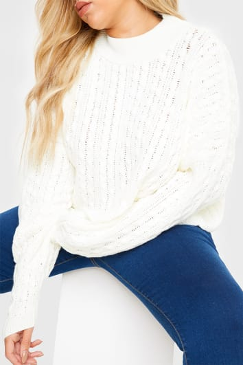 CURVE CHARLOTTE CROSBY CREAM CABLE BALLOON SLEEVE JUMPER