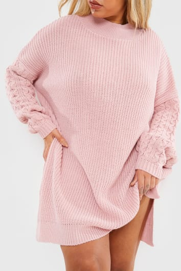 CURVE CHARLOTTE CROSBY BLUSH CABLE SLEEVE JUMPER DRESS