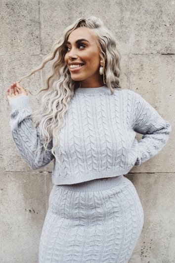 CURVE LAILA LOVES GREY MARL CABLE KNIT CO-ORD JUMPER