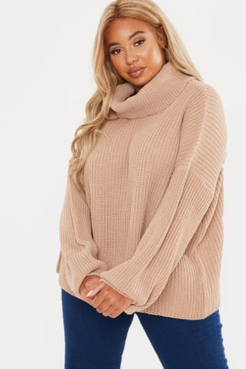 CURVE FASHION INFLUX STONE ROLL NECK SLOUCHY JUMPER