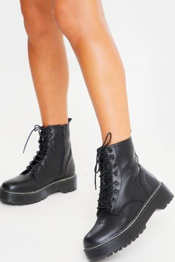 black chunky platform ankle boots