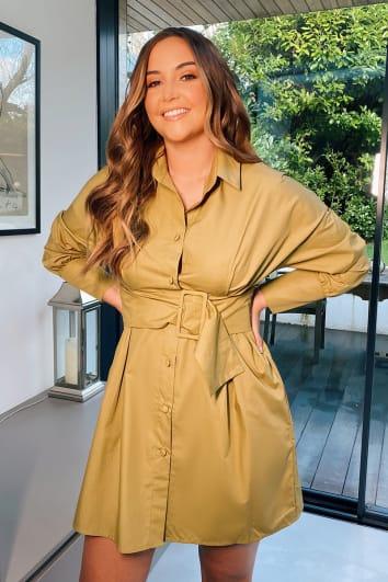 OLIVE BELTED POPLIN SHIRT DRESS