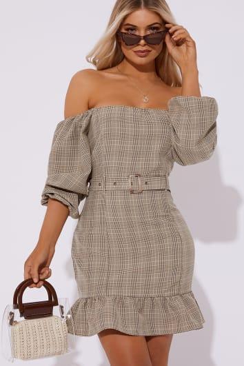 camel check bardot belted mini dress