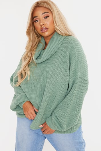 CURVE FASHION INFLUX MINT ROLL NECK SLOUCHY JUMPER