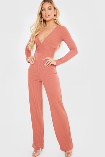RUST RIBBED JUMPSUIT