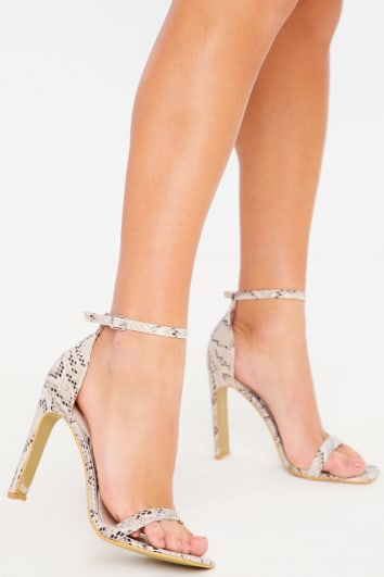 natural snake barely there heels