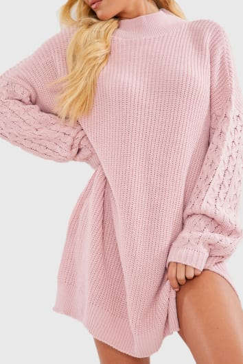 CHARLOTTE CROSBY BLUSH CABLE SLEEVE JUMPER DRESS