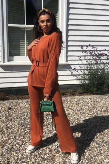 LAILA LOVES RUST ORANGE WIDE LEG CO-ORD TROUSER