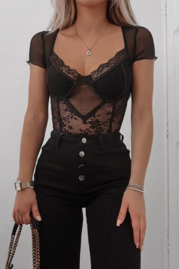 FASHION INFLUX BLACK MESH LACE CUPPED SHORT SLEEVE BODYSUIT
