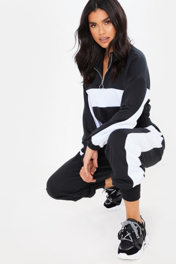 BLACK CROPPED HALF ZIP DETAIL SWEATER AND JOGGERS LOUNGEWEAR SET